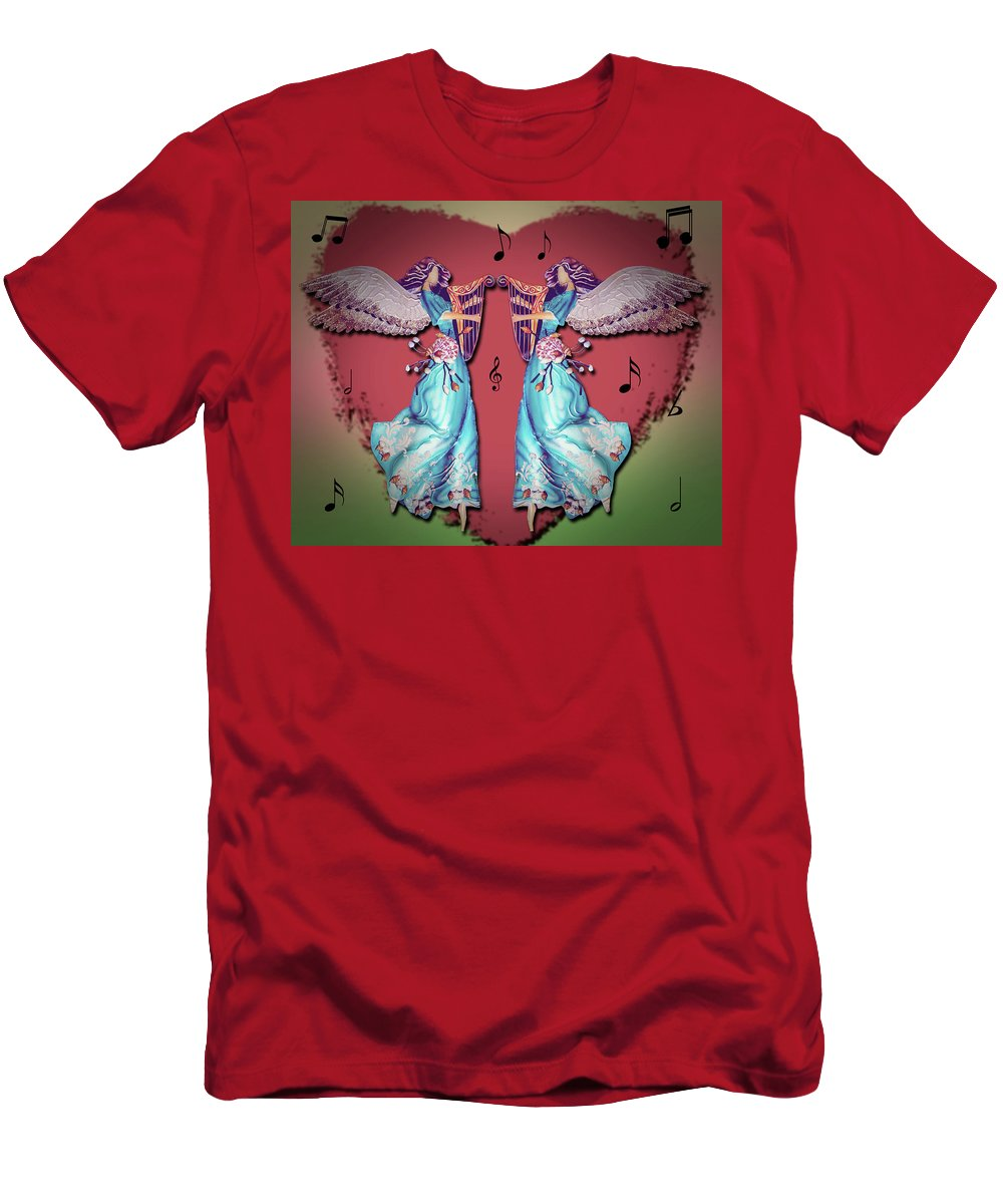 Angels Men's T-Shirt (Athletic Fit) featuring the photograph Double Angel by Leticia Latocki