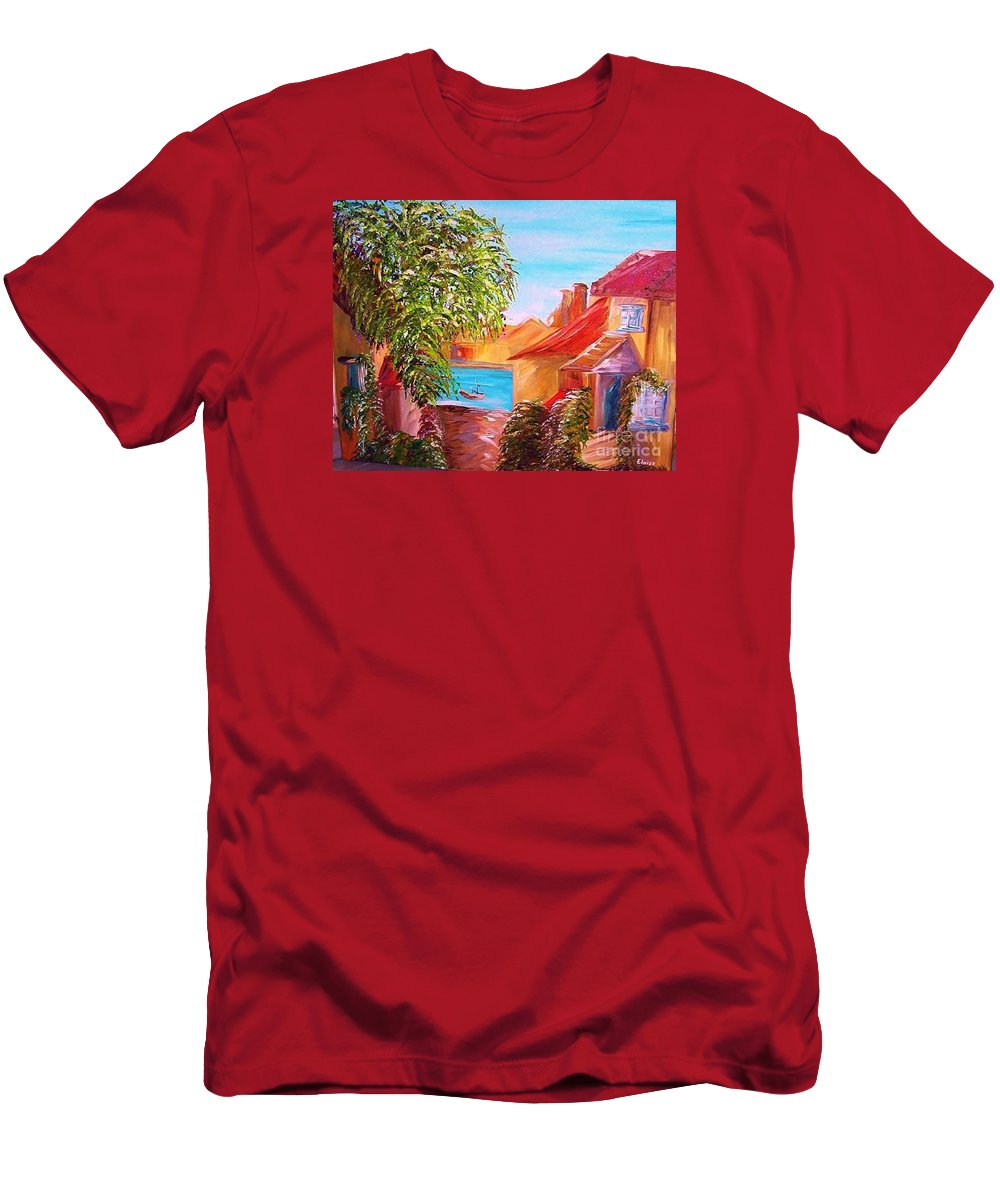 Water Men's T-Shirt (Athletic Fit) featuring the painting Down By The Water by Eloise Schneider Mote