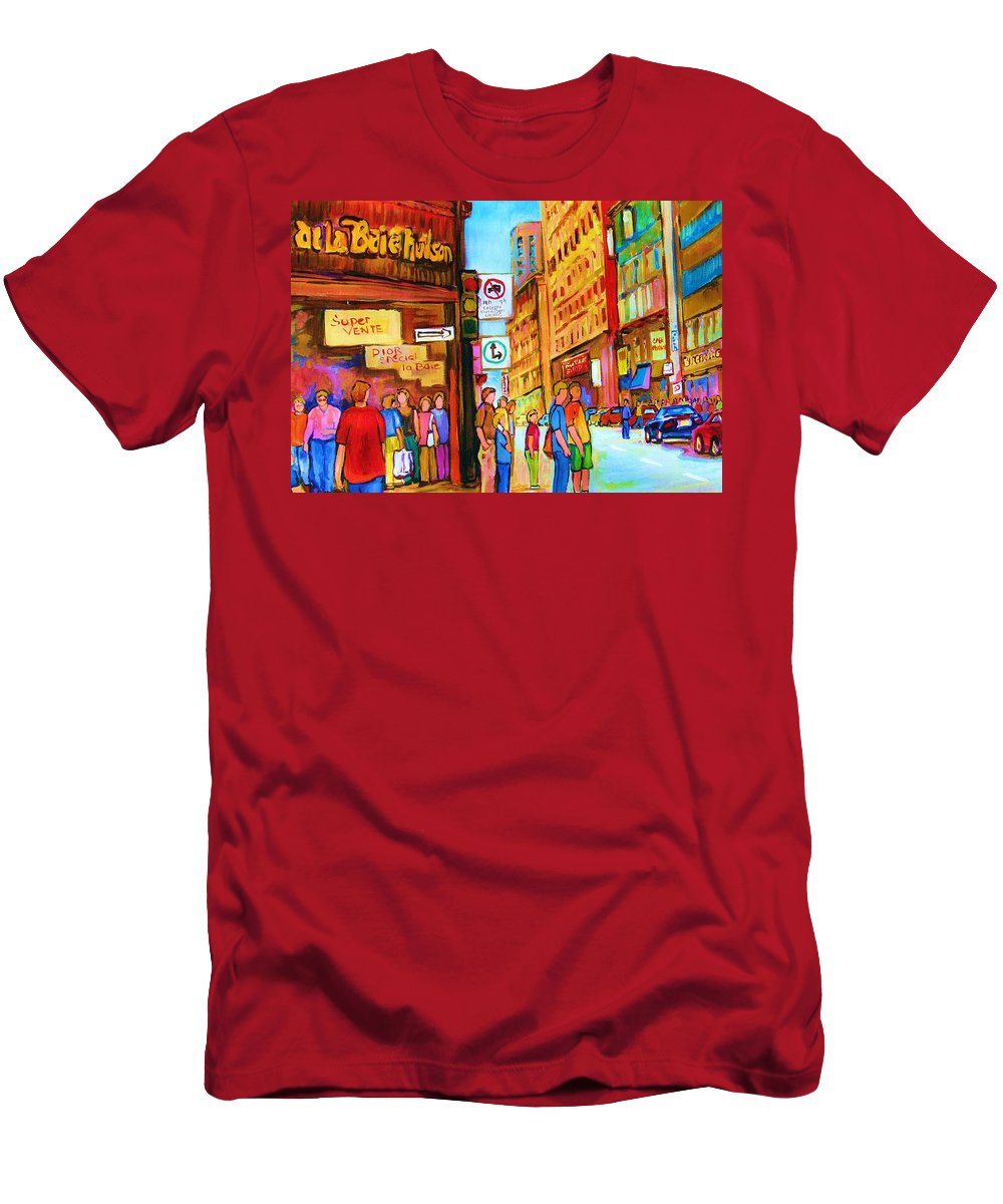 Cityscape Men's T-Shirt (Athletic Fit) featuring the painting Downtown by Carole Spandau