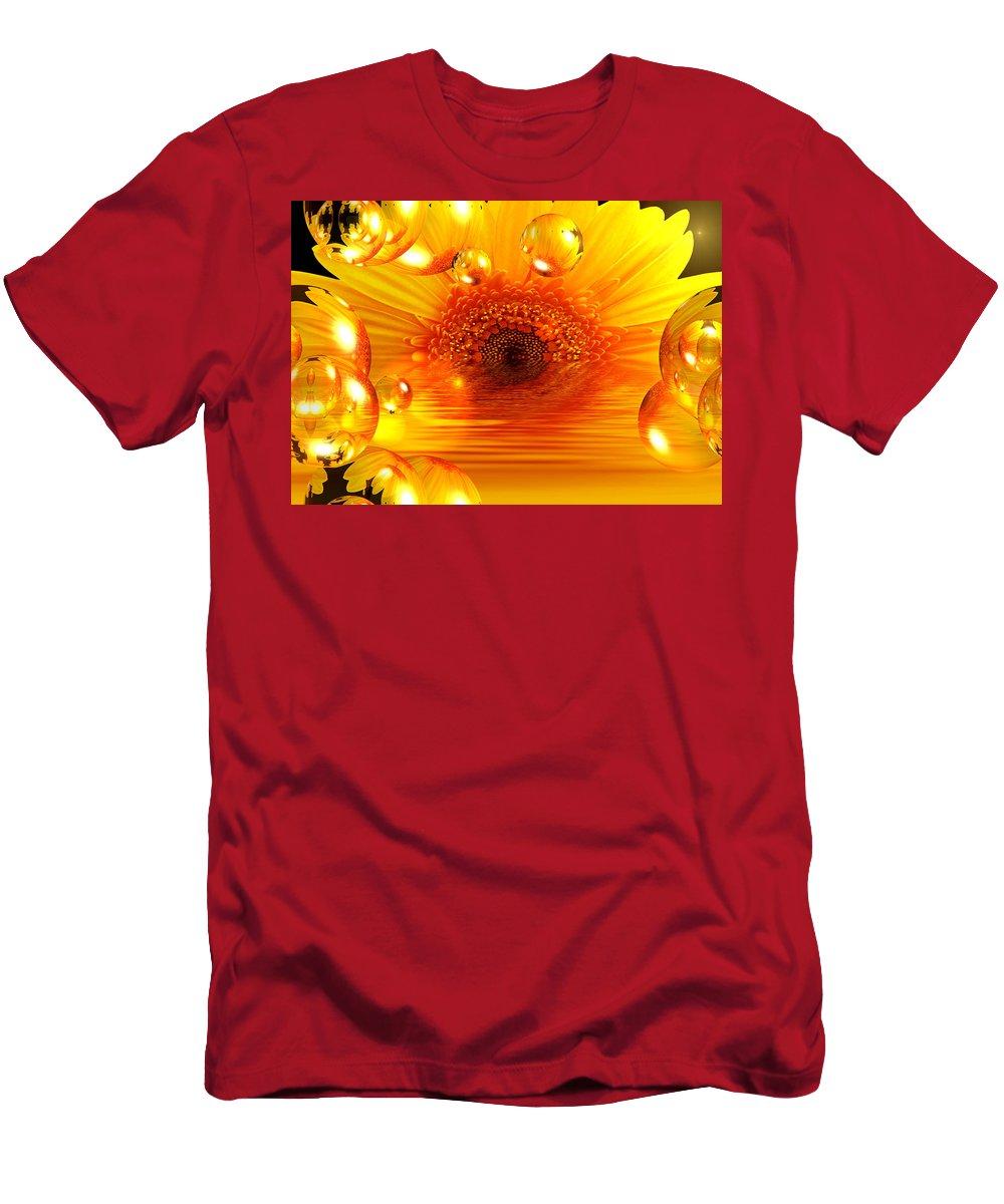 Gerbera Men's T-Shirt (Athletic Fit) featuring the mixed media Dreams 2 - Gerbera Sunrise by P Donovan