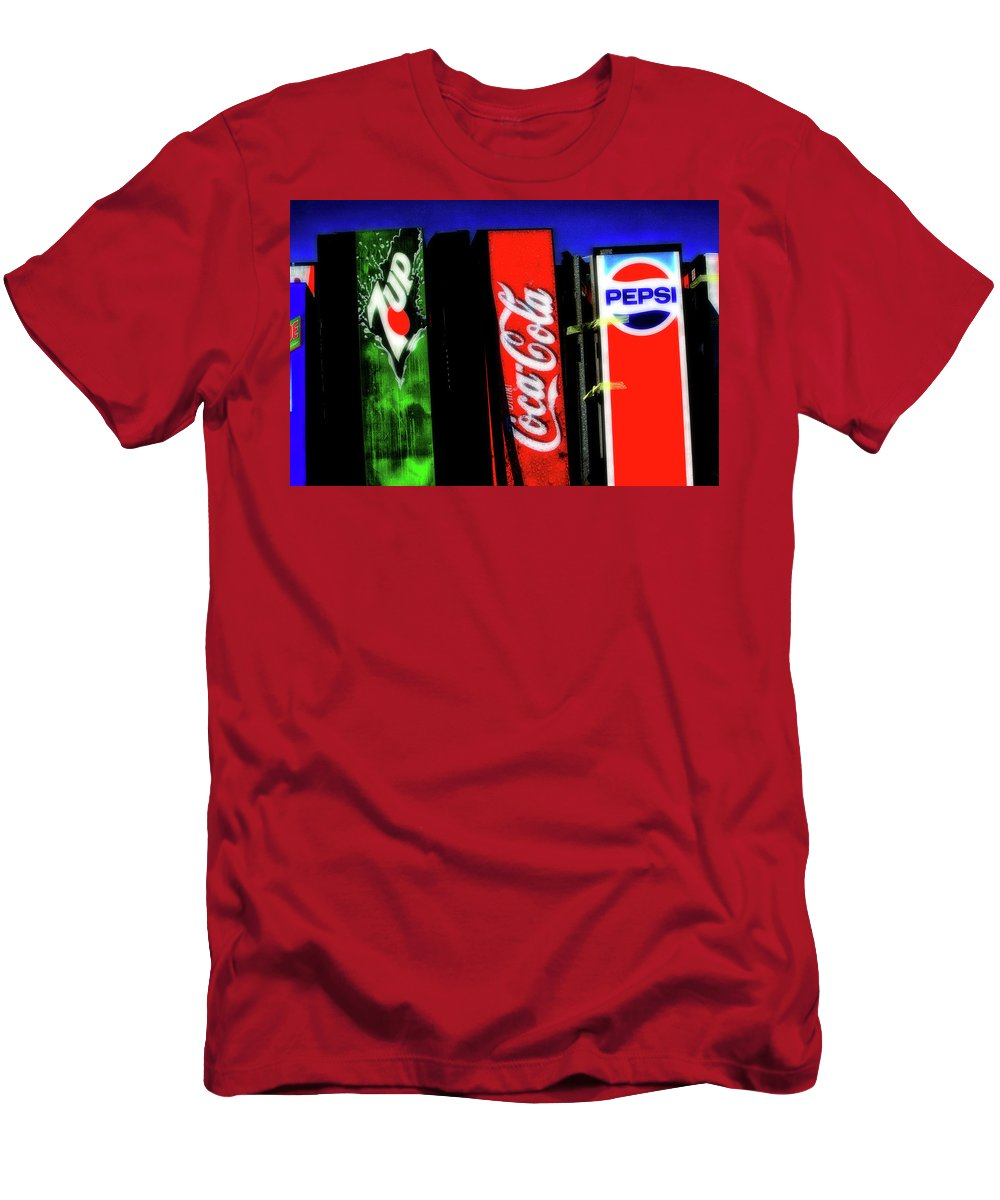 Drink Vending Machines Men's T-Shirt (Athletic Fit) featuring the photograph Drink Vending Machines by Artie Rawls