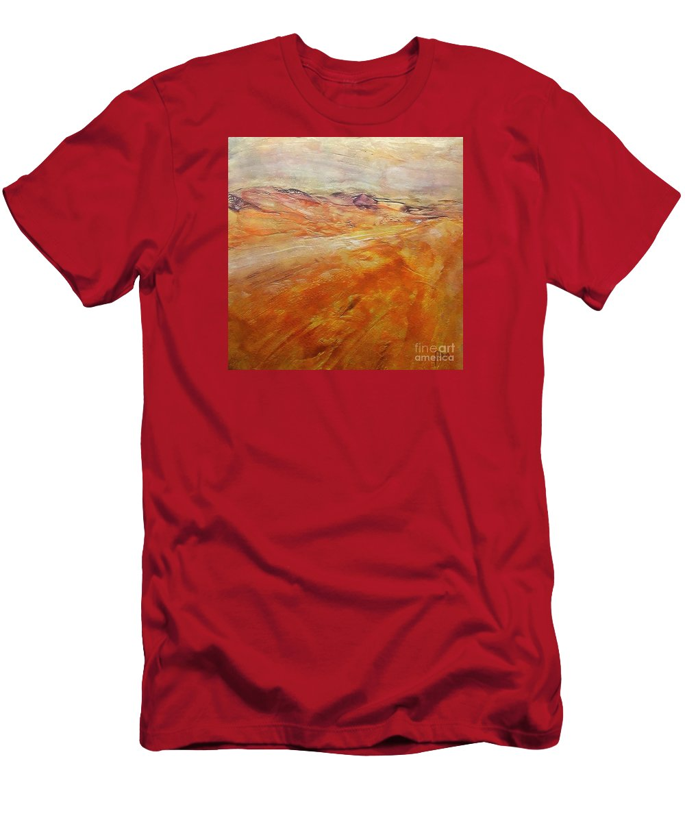 Abstract Landscape Men's T-Shirt (Athletic Fit) featuring the painting Drought by Dragica Micki Fortuna