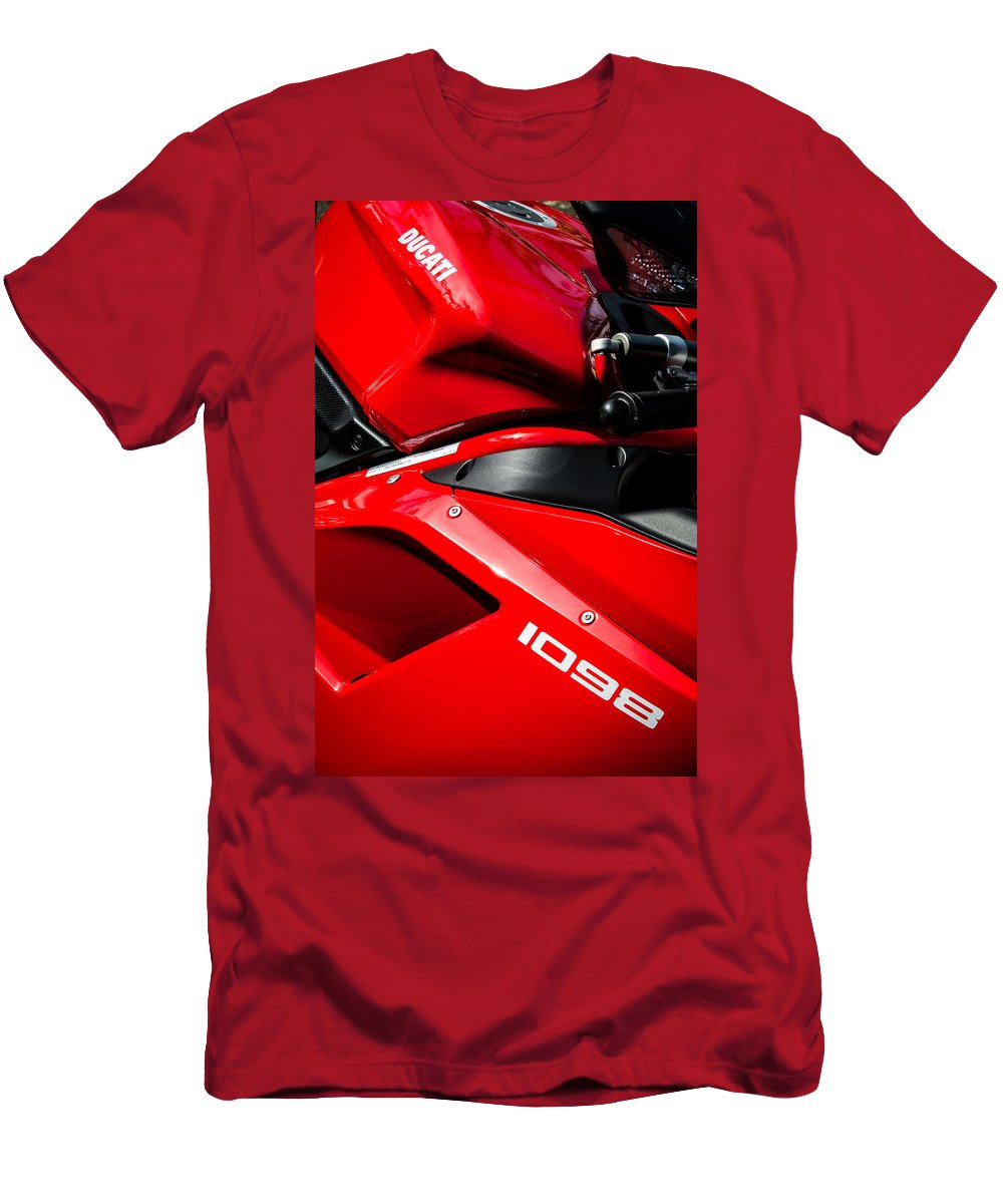Ducati 1098 Motorcycle Men's T-Shirt (Athletic Fit) featuring the photograph Ducati 1098 Motorcycle -0893c by Jill Reger