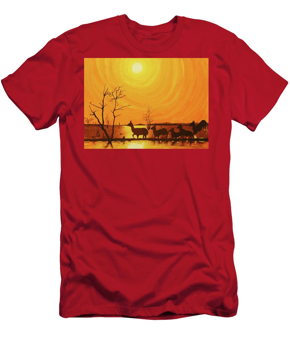 Acrylic Painting Men's T-Shirt (Athletic Fit) featuring the painting Early Dusk by Jack Harries