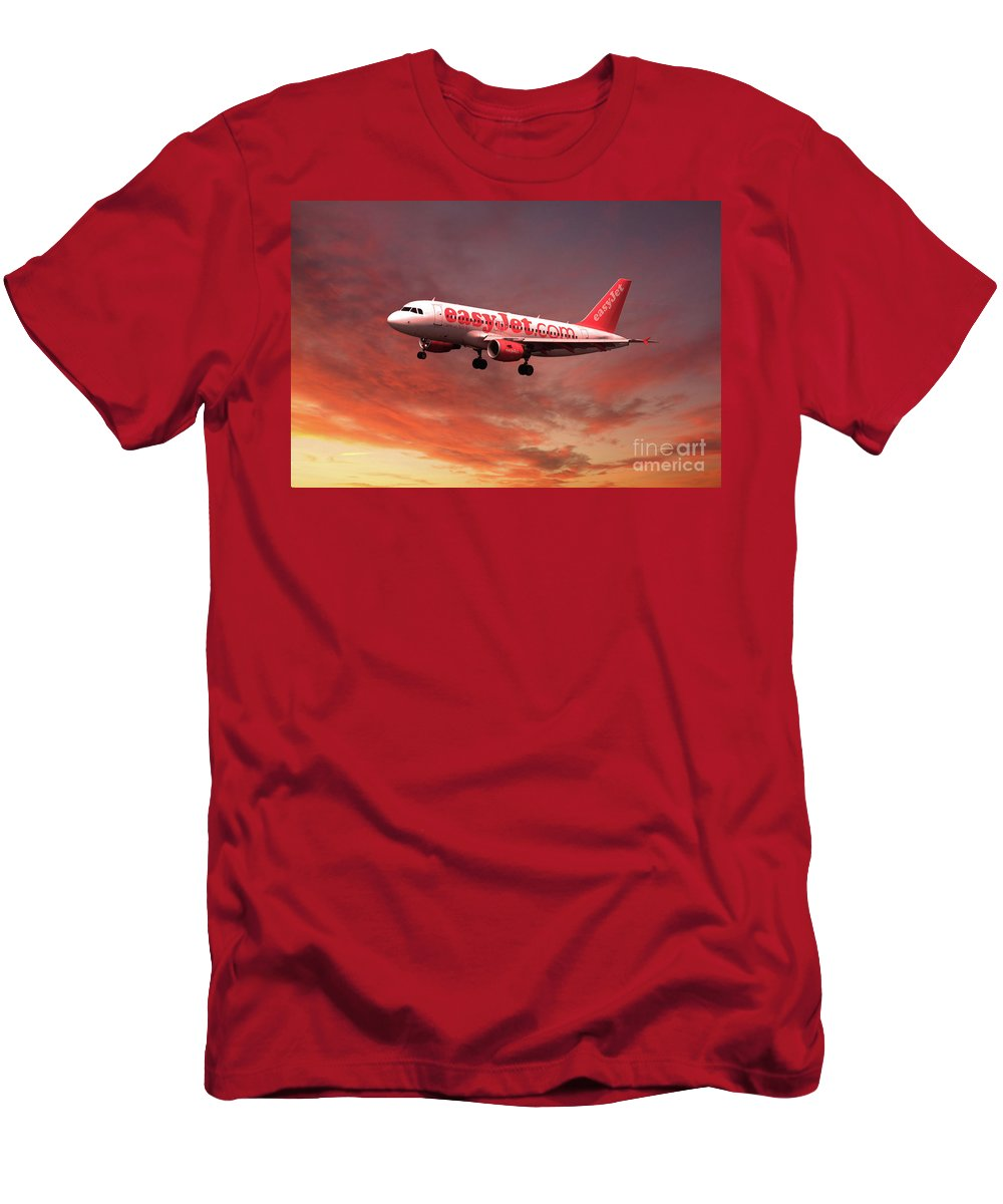 A319 Men's T-Shirt (Athletic Fit) featuring the digital art Easyjet Airbus A319 G-ezit by J Biggadike