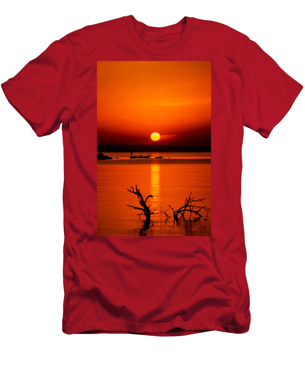 Africa Men's T-Shirt (Athletic Fit) featuring the photograph Egyptian Sunrise On Lake Nasser by Julian Wicksteed
