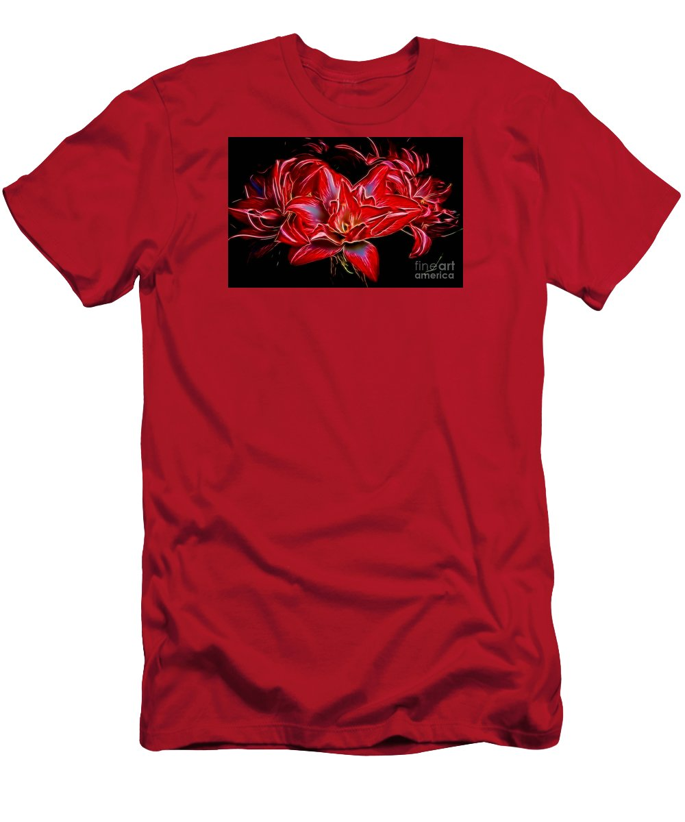 Amaryillis Men's T-Shirt (Athletic Fit) featuring the photograph Electric Amaryillis by Darleen Stry