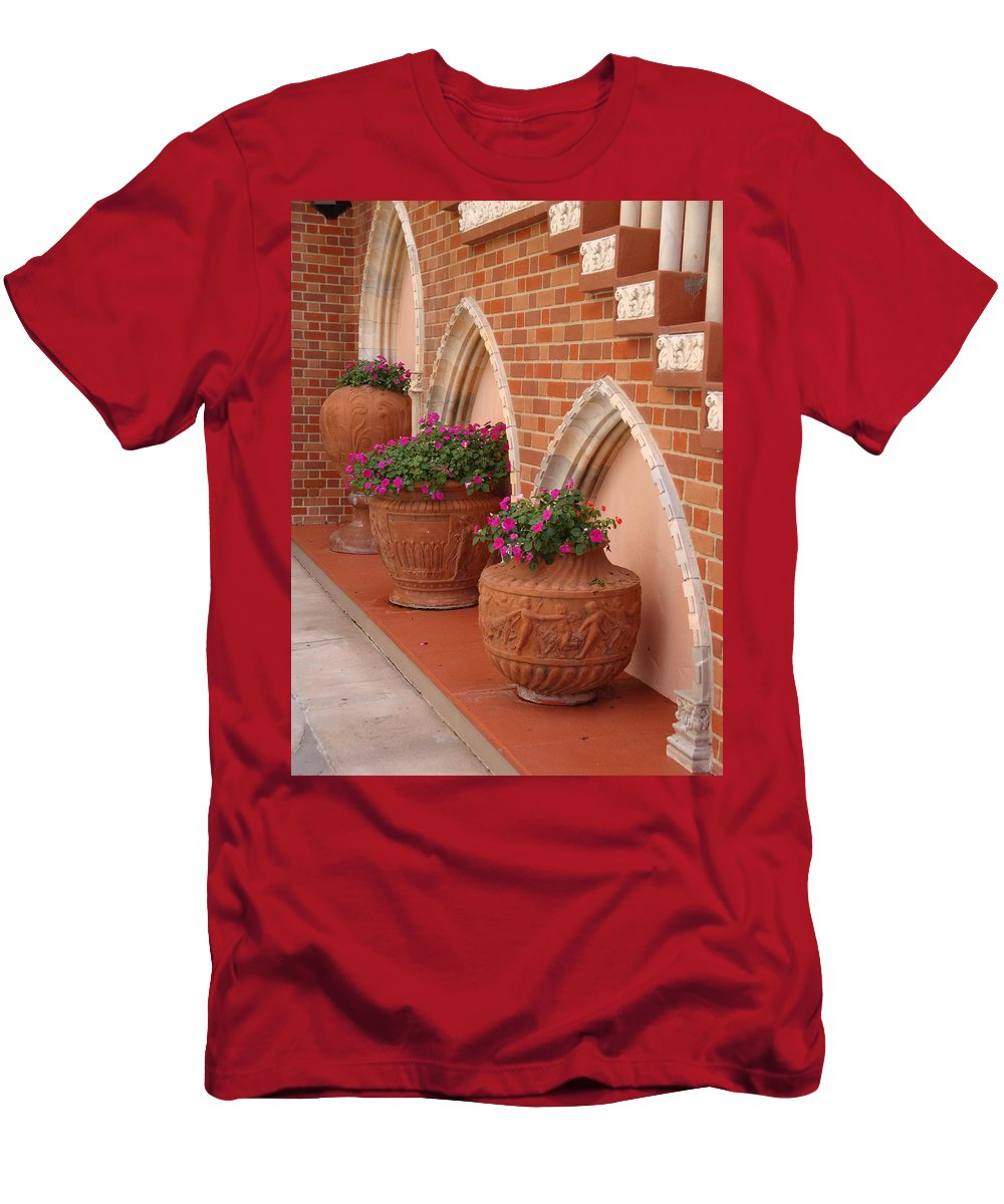 Archways Men's T-Shirt (Athletic Fit) featuring the photograph Elegant Italian Florals by Kim Chernecky