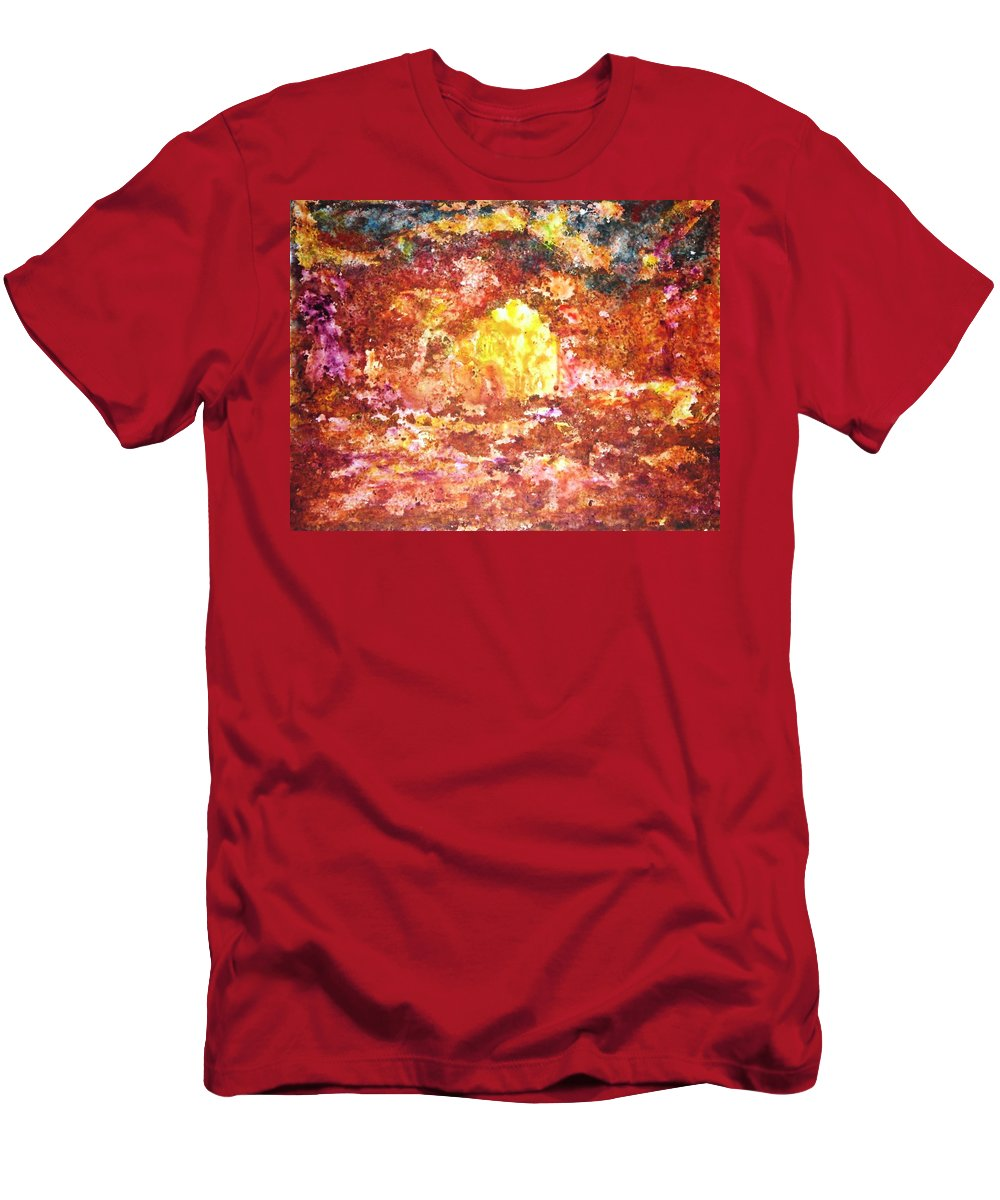 Abstract Color Yupo Paper Landscape Forest River Lava Lake Fire Earth T-Shirt featuring the painting Enchanted by Manjiri Kanvinde