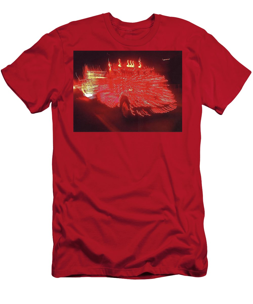 Ernst Haas Homage Fire Truck Electric Lights Xmas Parade Casa Grande Az 2001 Men's T-Shirt (Athletic Fit) featuring the photograph Ernst Haas Homage Fire Truck Electric Lights Xmas Parade Casa Grande Az 2001 by David Lee Guss