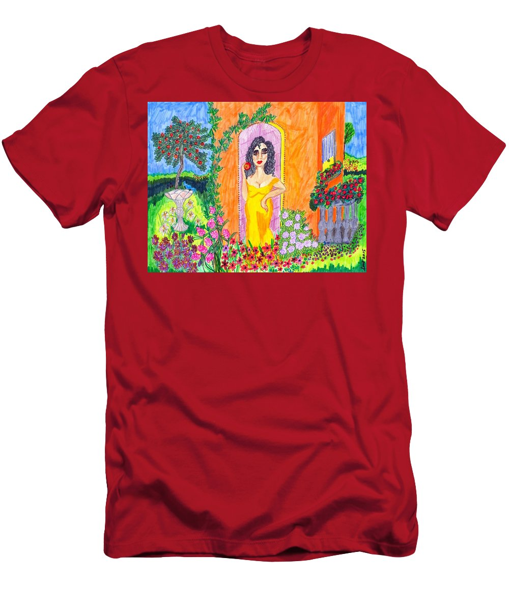 Folk Art Men's T-Shirt (Athletic Fit) featuring the painting Evening At The Girl Cave by Stacey Torres