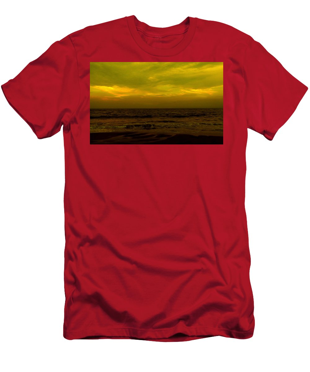 Beach Men's T-Shirt (Athletic Fit) featuring the photograph Evening's Contemplation by Kendall Eutemey