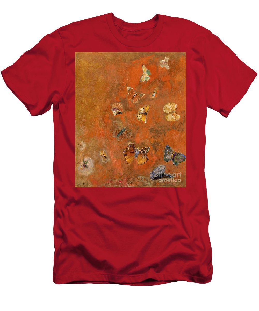 Evocation T-Shirt featuring the painting Evocation of Butterflies by Odilon Redon