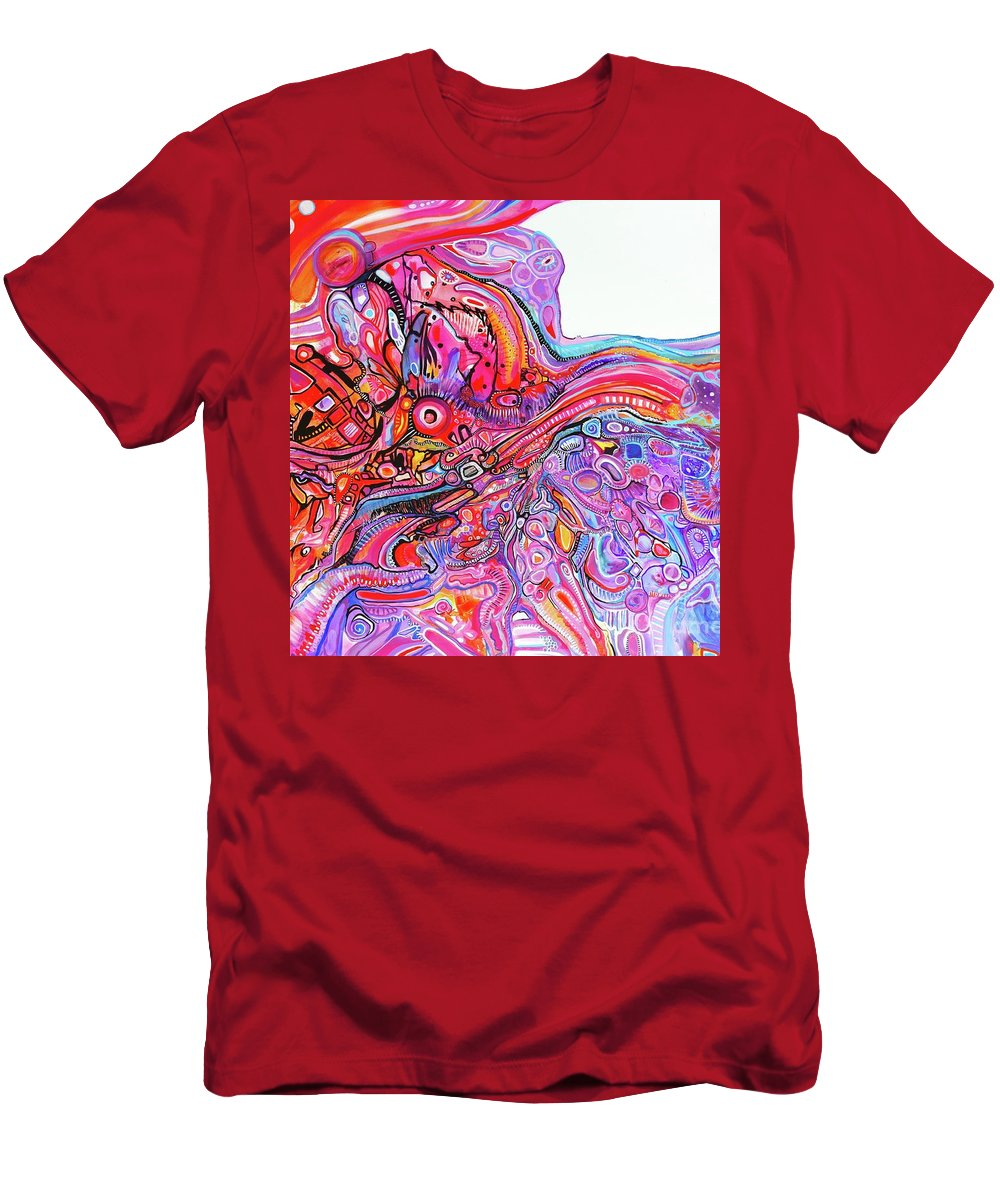 Original Artwork On Canvas Riotous Vibrant Abstract Expressionism T-Shirt featuring the painting Exuberant Fun by Priscilla Batzell Expressionist Art Studio Gallery