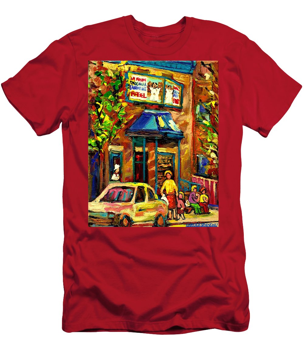 Fairmount Bagel Men's T-Shirt (Athletic Fit) featuring the painting Fairmount Bagel In Montreal by Carole Spandau