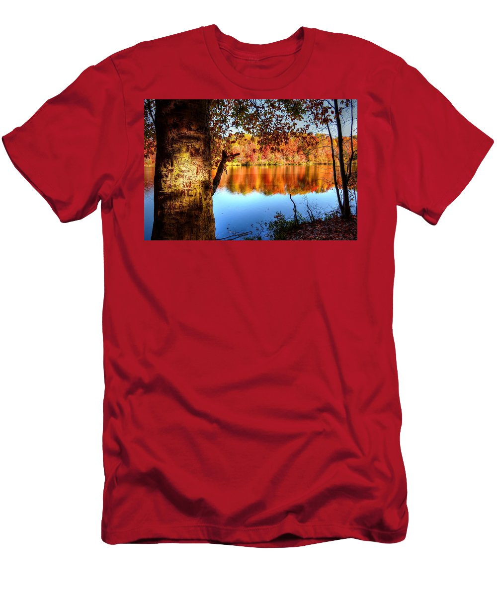 Fall Men's T-Shirt (Athletic Fit) featuring the photograph Fall At Lake by Ronda Ryan