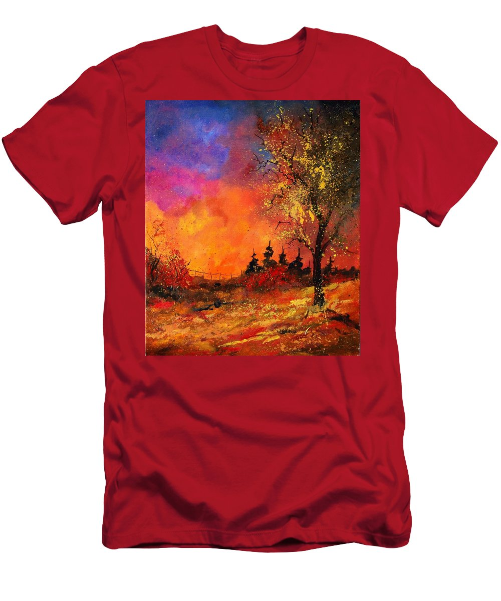 River Men's T-Shirt (Athletic Fit) featuring the painting Fall by Pol Ledent