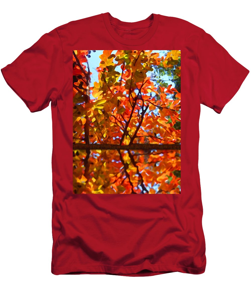 Trees Men's T-Shirt (Athletic Fit) featuring the painting Fall Reflextion by Amy Vangsgard