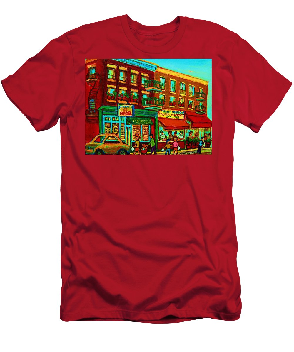 St Viateur Bagel Shop Montreal Street Scenes Men's T-Shirt (Athletic Fit) featuring the painting Family Frolic On St.viateur Street by Carole Spandau