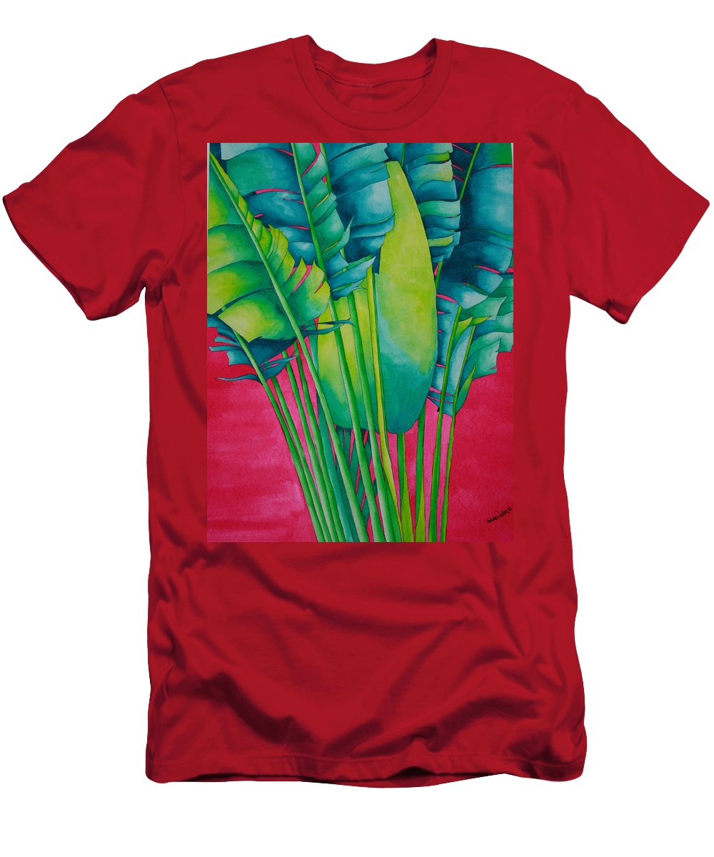 Fan Palm Men's T-Shirt (Athletic Fit) featuring the painting Fan Palm With Pink by Helen Weston