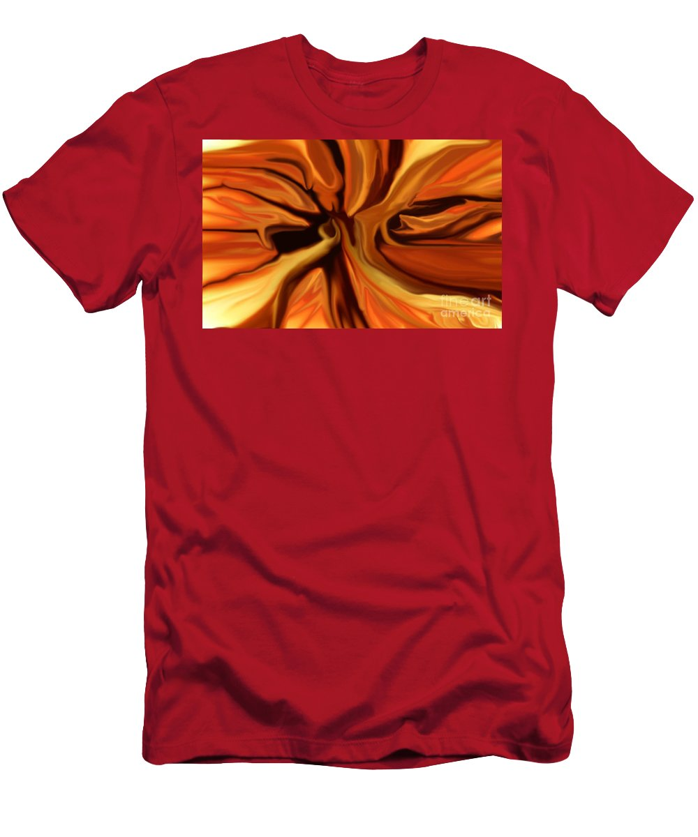Abstract Men's T-Shirt (Athletic Fit) featuring the digital art Fantasy In Orange by David Lane