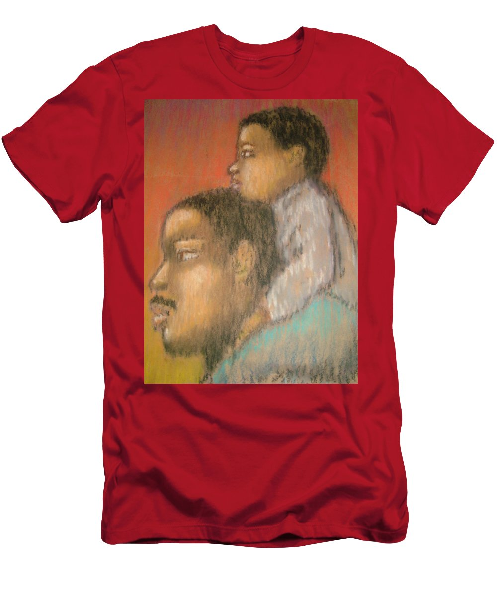 Men's T-Shirt (Athletic Fit) featuring the drawing Father And Son by Jan Gilmore
