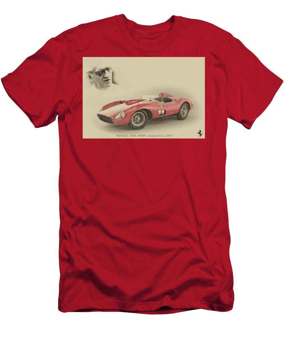 Ferrari Men's T-Shirt (Athletic Fit) featuring the digital art Ferrari 335 S by Paolo Grasso