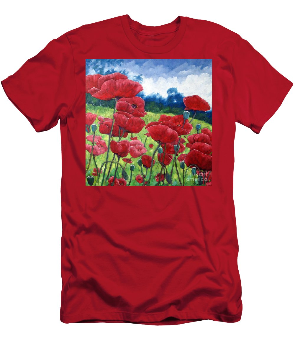 Poppies Men's T-Shirt (Athletic Fit) featuring the painting Field Of Poppies by Richard T Pranke