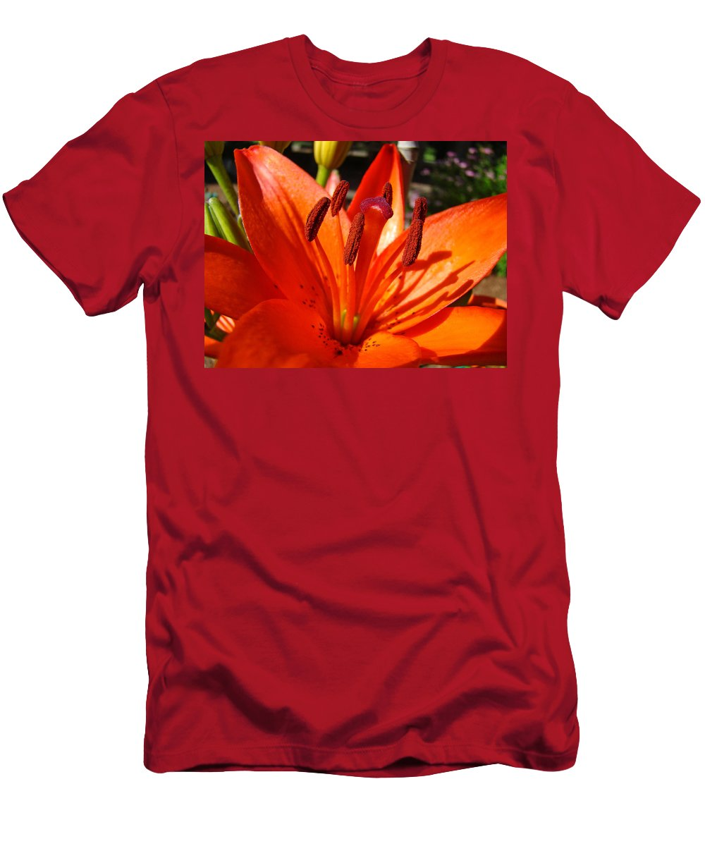 Nature T-Shirt featuring the photograph Fine Art Nature Colorful Bright Orange Lily Flowers Baslee Troutman by Patti Baslee