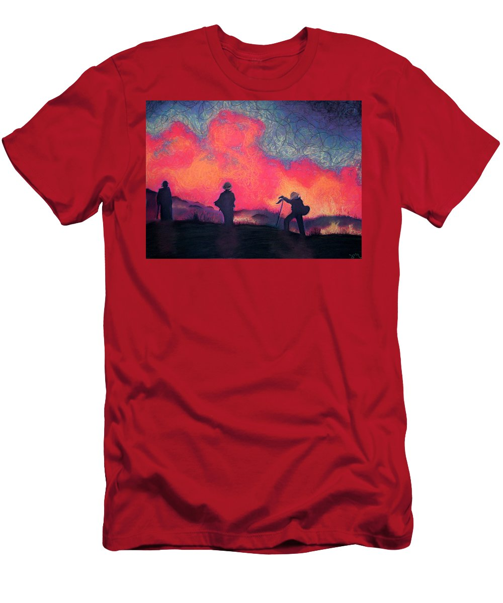 Fire Crews Men's T-Shirt (Athletic Fit) featuring the drawing Fire Crew by Joshua Morton