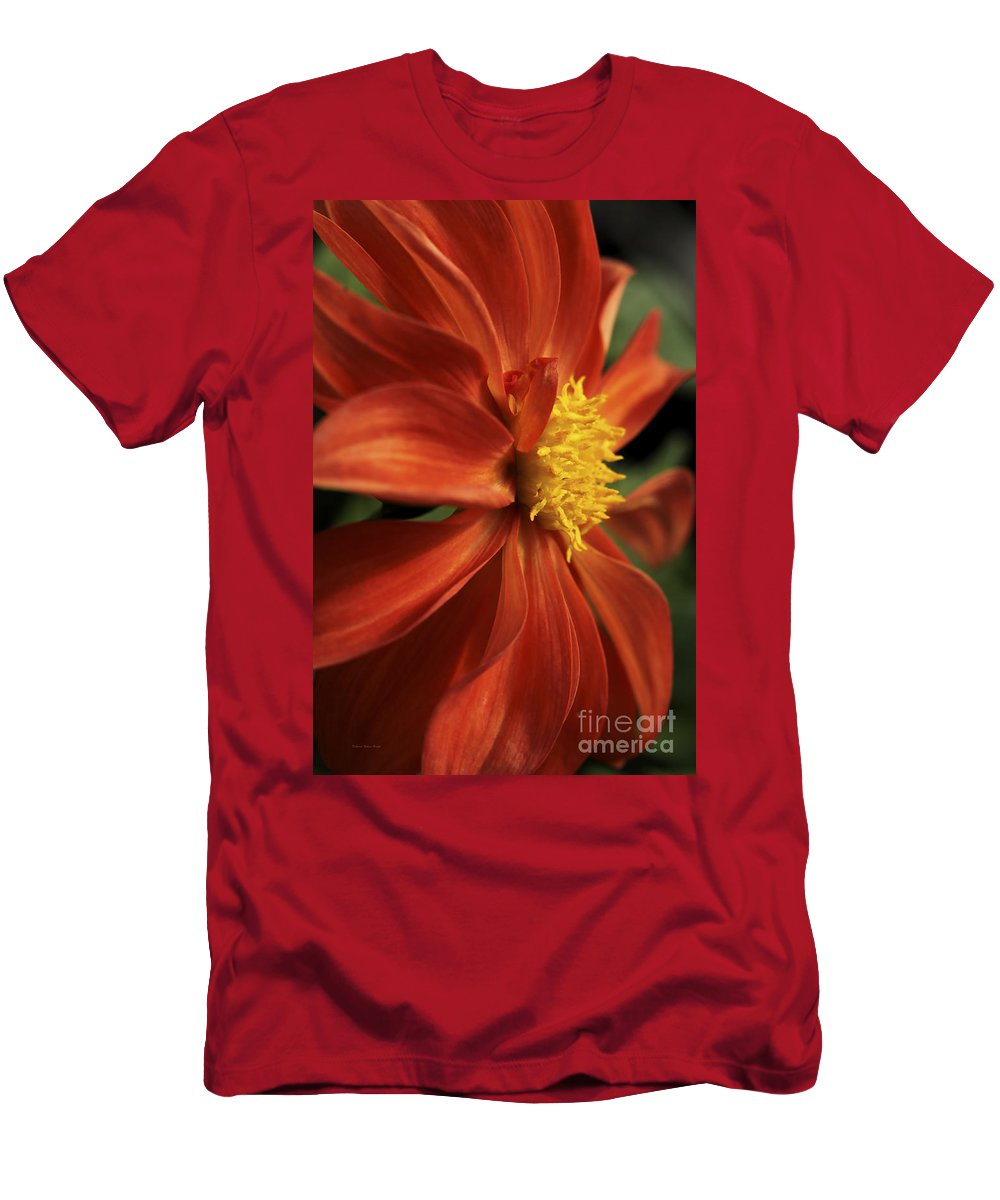 Flower Men's T-Shirt (Athletic Fit) featuring the photograph Fire Dahlia by Deborah Benoit