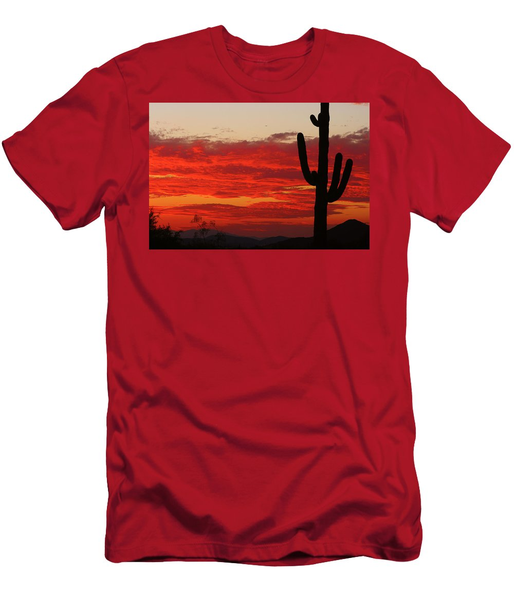 Sunset Men's T-Shirt (Athletic Fit) featuring the photograph Fire In The Sky by James BO Insogna