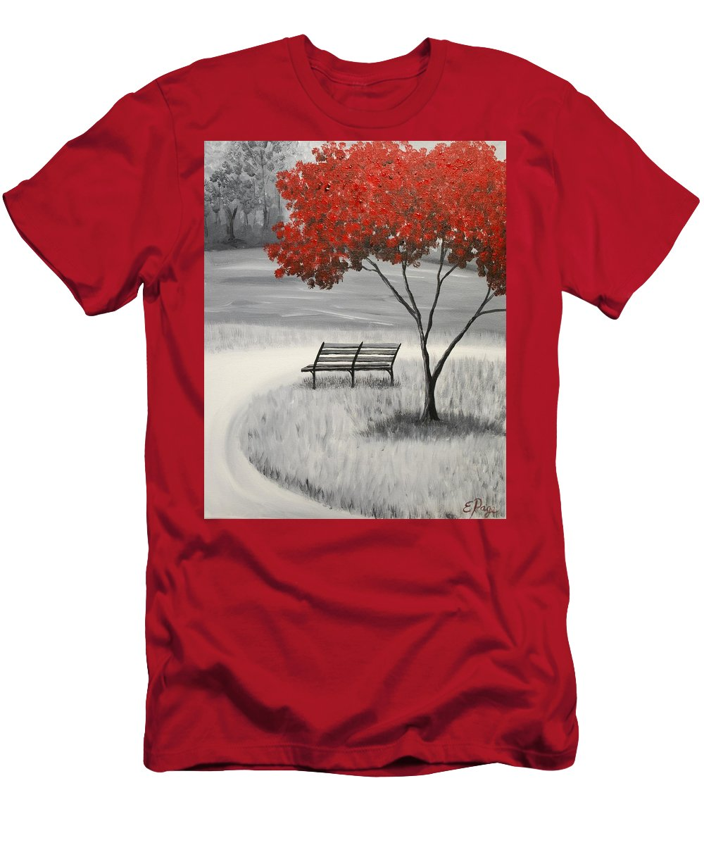 Autumn Tree Men's T-Shirt (Athletic Fit) featuring the painting Fire Tree by Emily Page