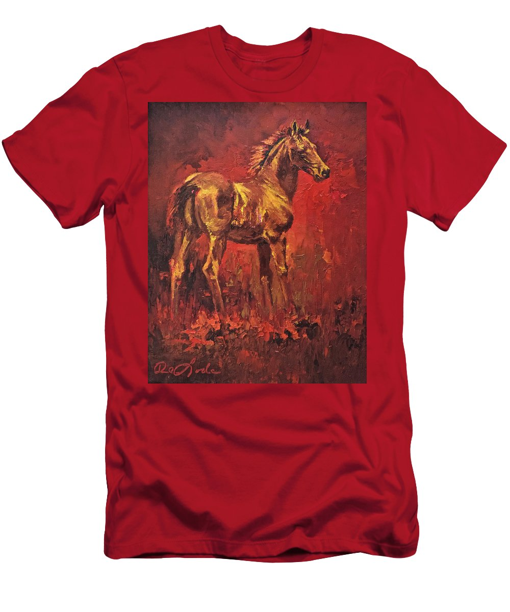 Colt Men's T-Shirt (Athletic Fit) featuring the painting Fireball by Mia DeLode