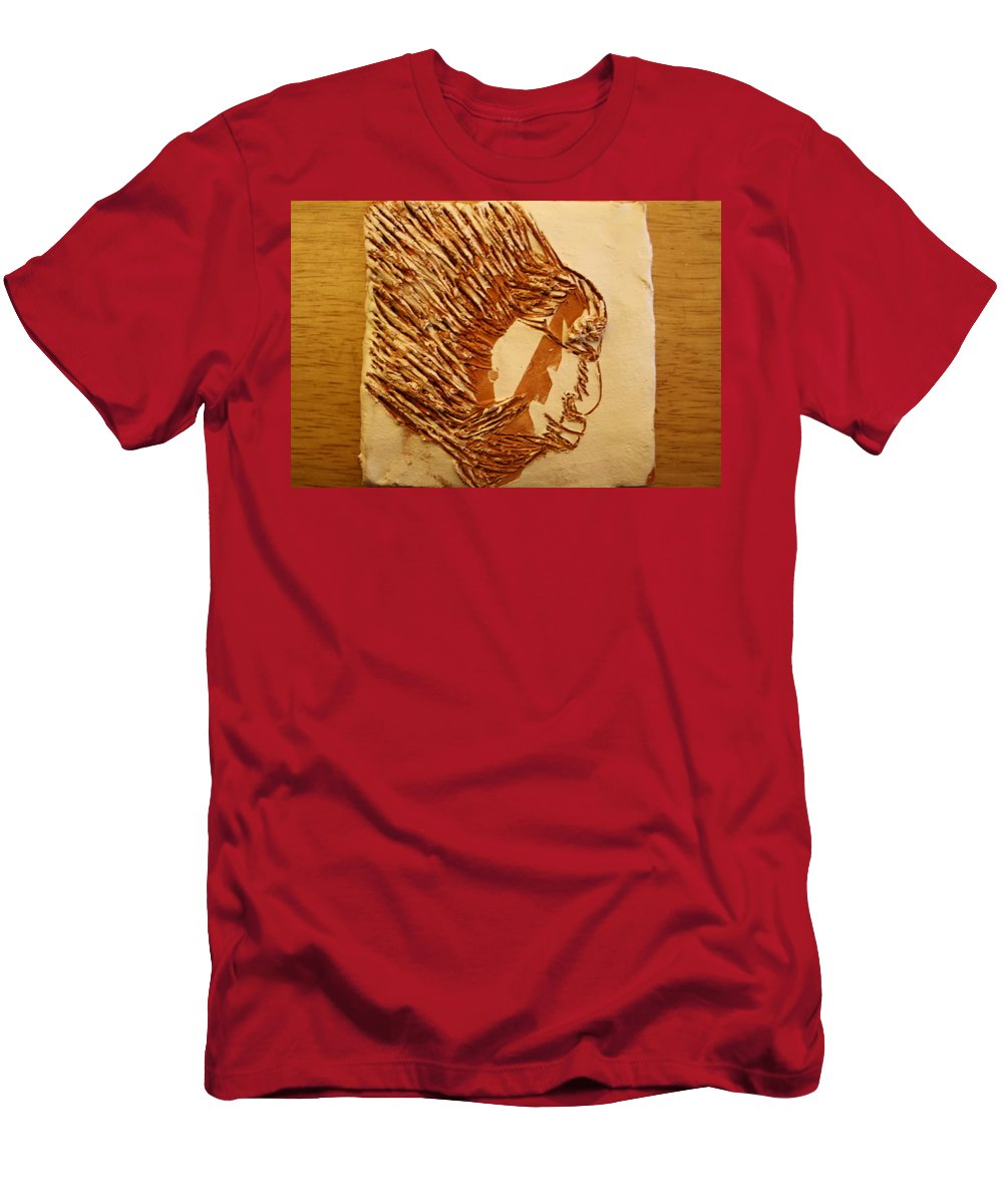 Jesus Men's T-Shirt (Athletic Fit) featuring the ceramic art Fires Eyes - Tile by Gloria Ssali