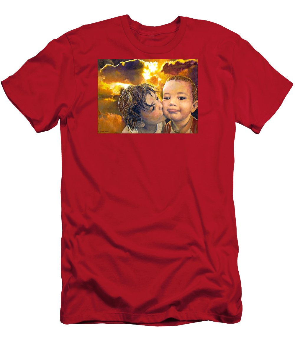 Children T-Shirt featuring the painting First Kiss by Michael Durst