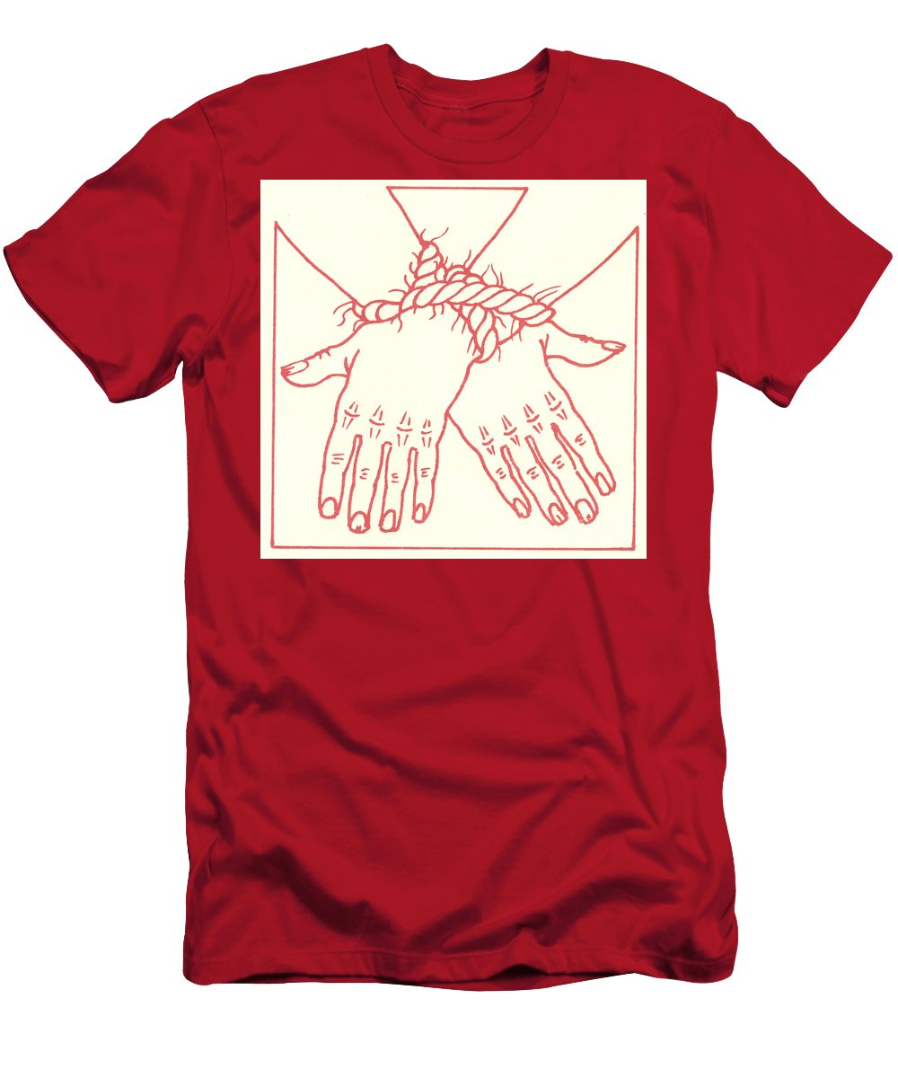 Stations Of The Cross Men's T-Shirt (Athletic Fit) featuring the drawing First Station- Jesus Is Condemned To Death by William Hart McNichols