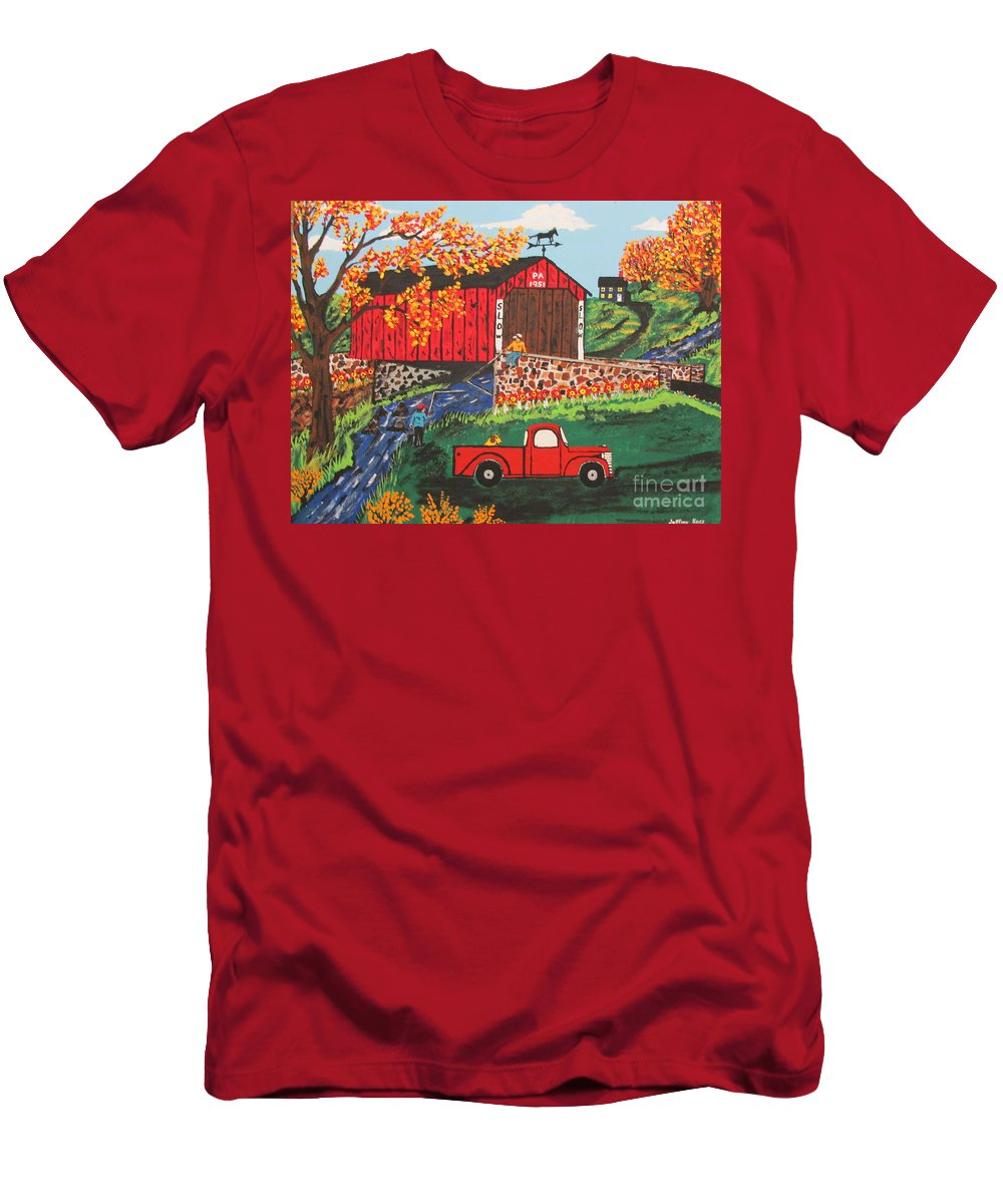 Country Art Men's T-Shirt (Athletic Fit) featuring the painting Fishing Under The Covered Bridge by Jeffrey Koss
