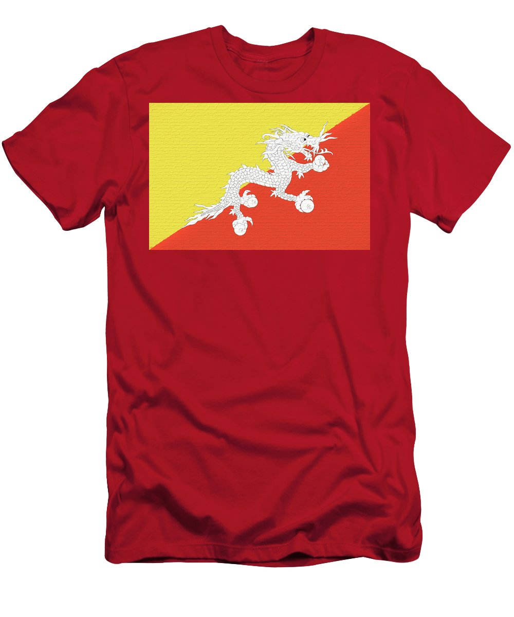 Asia Men's T-Shirt (Athletic Fit) featuring the digital art Flag Of Bhutan Wall by Roy Pedersen