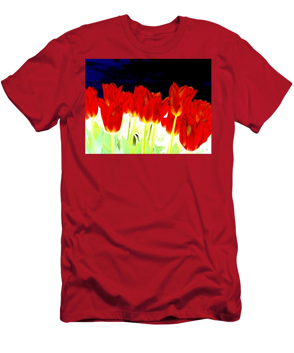 Red Tulips Men's T-Shirt (Athletic Fit) featuring the digital art Flaming Red Tulips by Will Borden