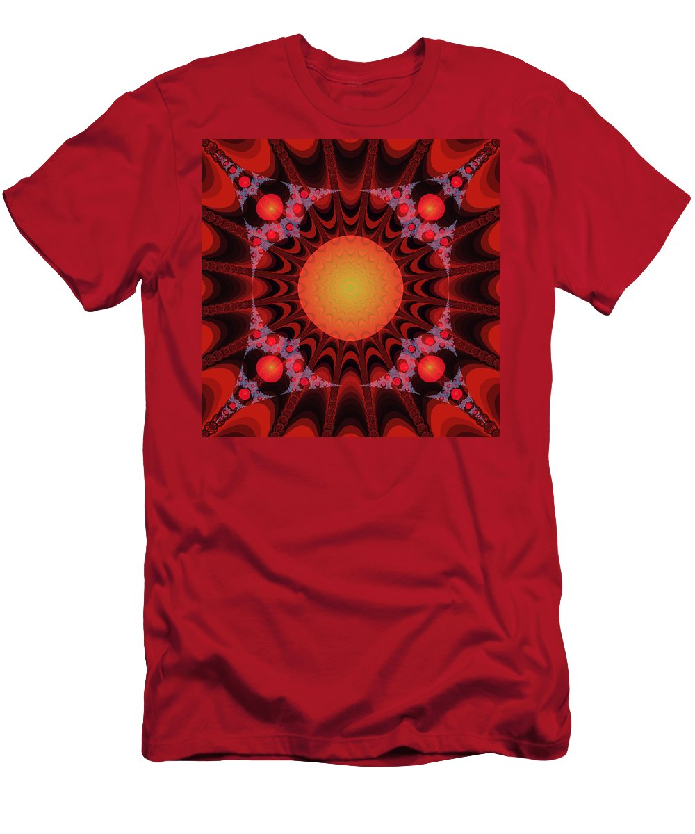 Fractal Men's T-Shirt (Athletic Fit) featuring the digital art Flaming Sol by Frederic Durville