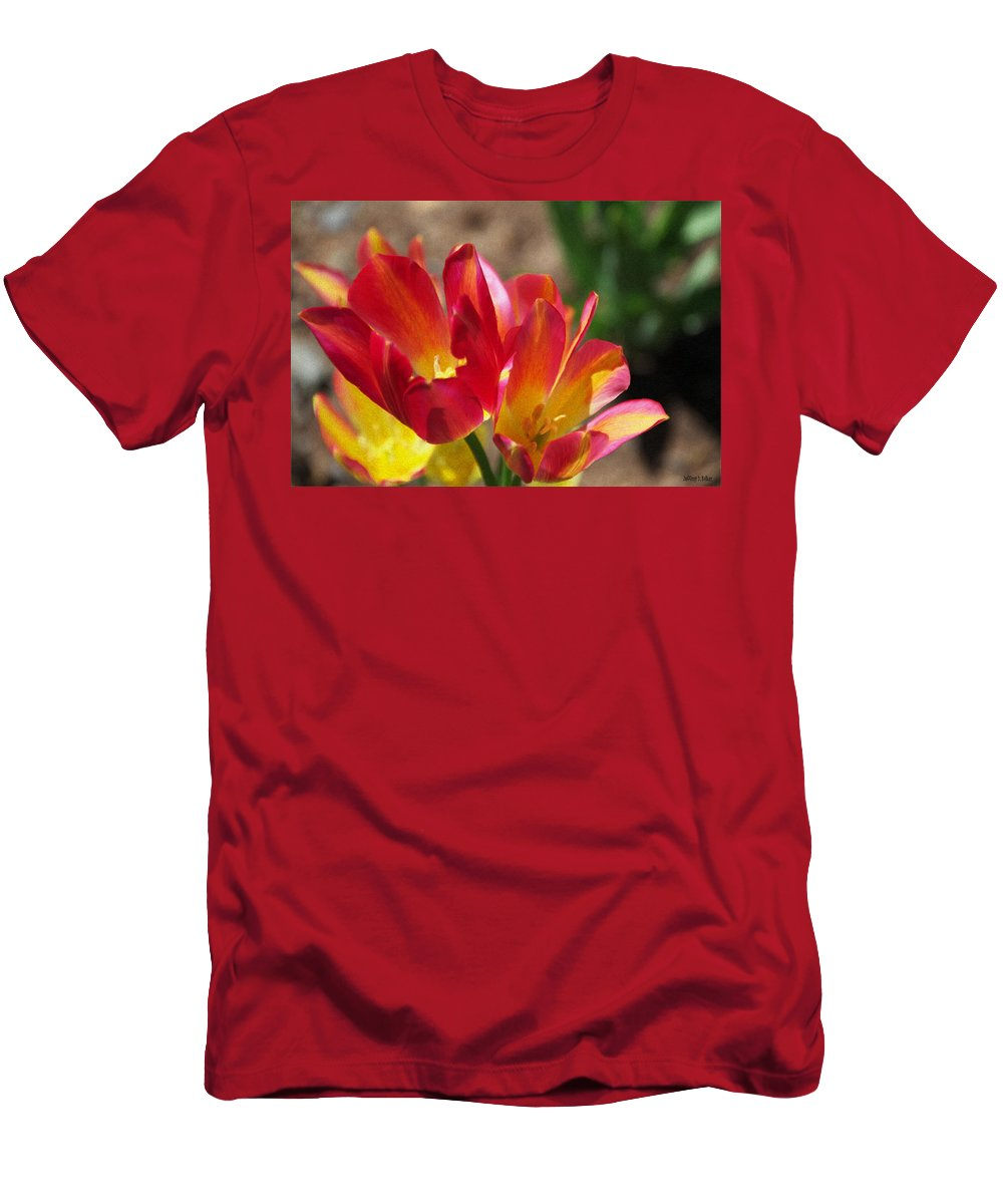 Tulips Men's T-Shirt (Athletic Fit) featuring the painting Flaming Tulips by Jeffrey Kolker