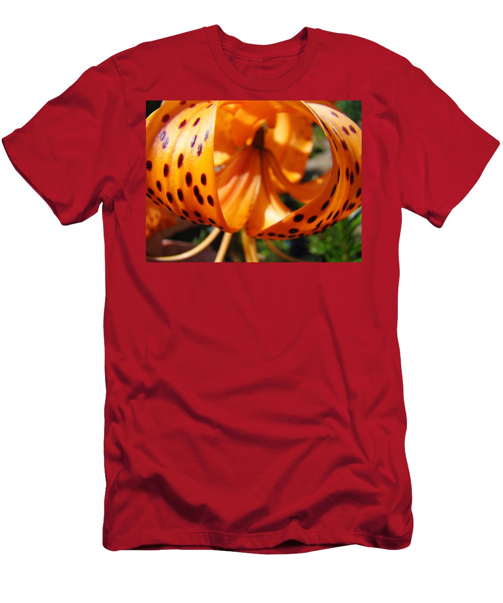 Lilies Men's T-Shirt (Athletic Fit) featuring the photograph Floral Abstracts Art Prints Summer Tiger Lily Baslee Troutman by Baslee Troutman