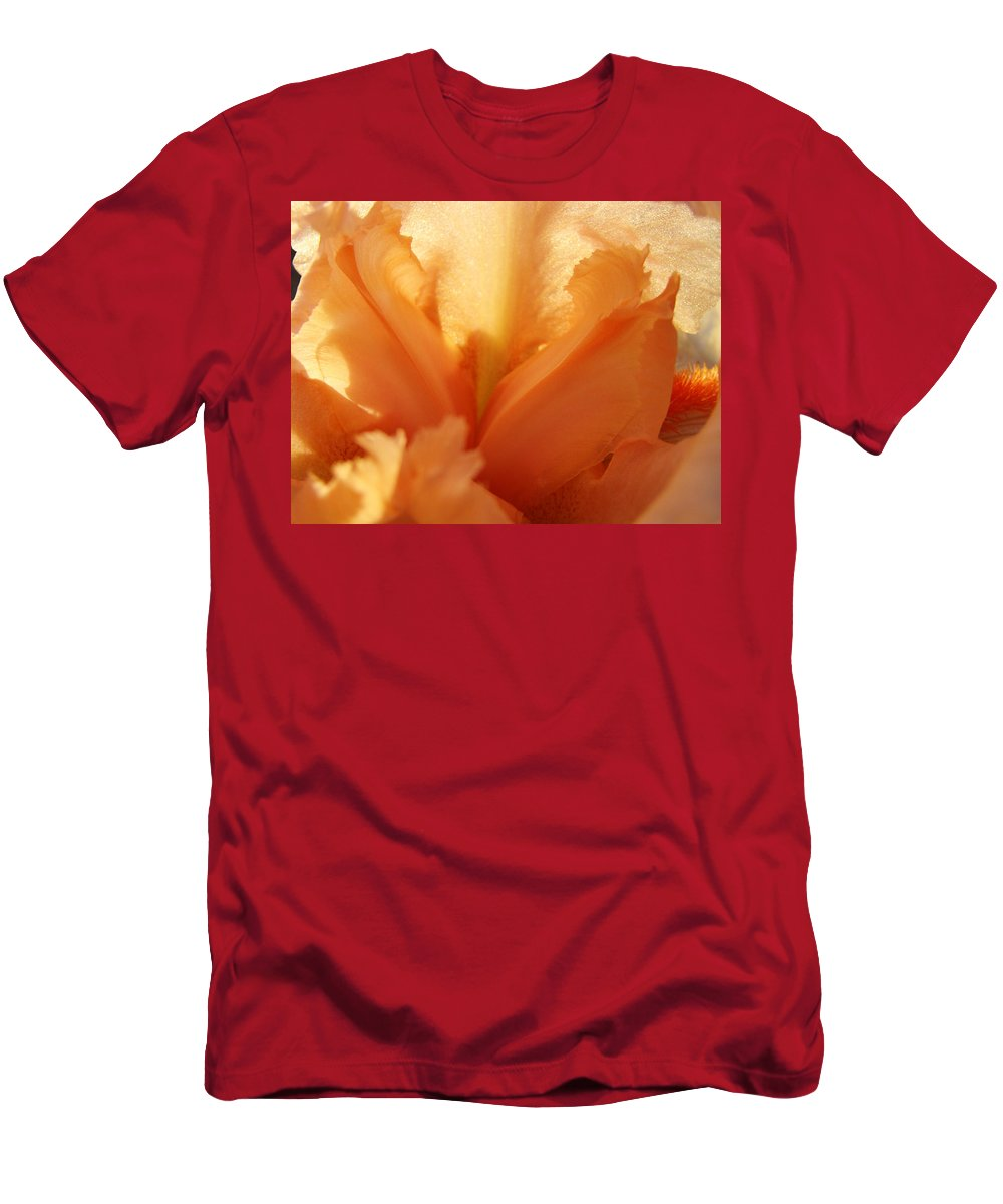 Iris Men's T-Shirt (Athletic Fit) featuring the photograph Floral Art Orange Iris Flower Sunlit Baslee Troutman by Baslee Troutman
