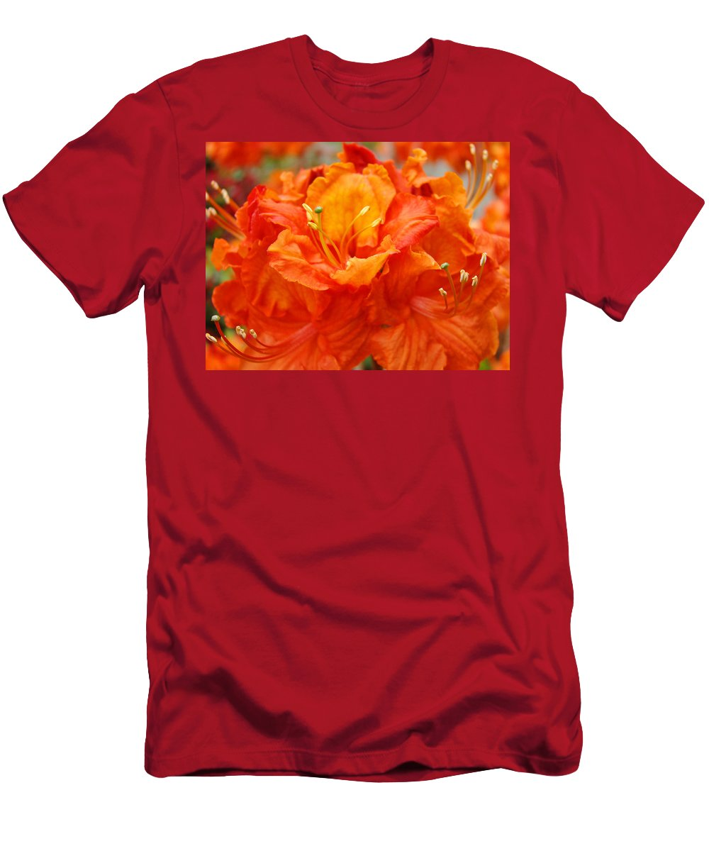 Rhodie Men's T-Shirt (Athletic Fit) featuring the photograph Floral Rhodies Art Prints Orange Rhododendrons Canvas Art Baslee Troutman by Baslee Troutman