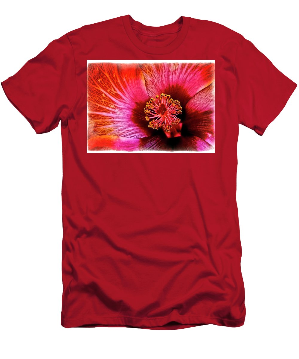 Red Men's T-Shirt (Athletic Fit) featuring the photograph Flower 69f by Richard Xuereb