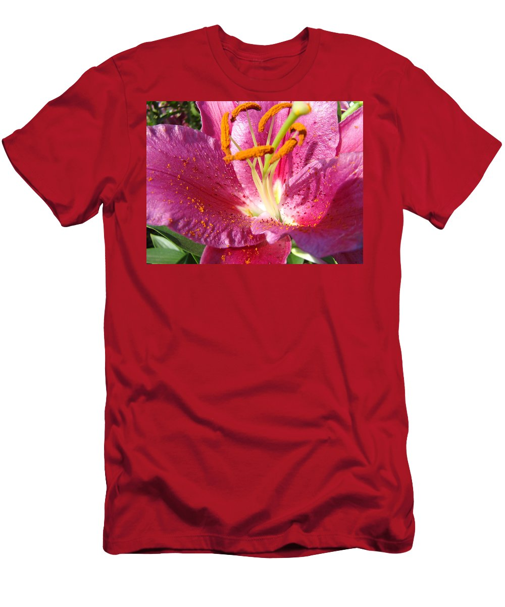 Lily Men's T-Shirt (Athletic Fit) featuring the photograph Flower Art Prints Pink Orange Lily Flower Giclee Baslee Troutman by Baslee Troutman