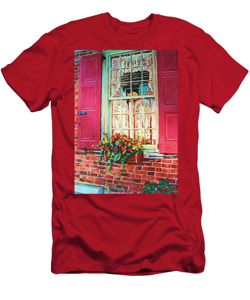 Flower Box Men's T-Shirt (Athletic Fit) featuring the painting Flower Box And Pink Shutters by Carole Spandau