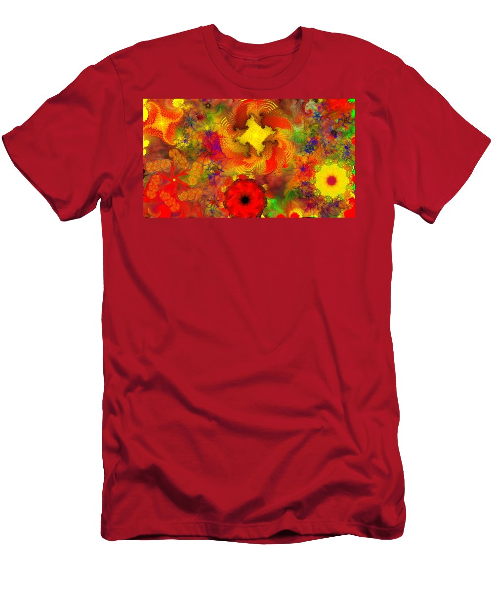 Abstract Digital Painting Men's T-Shirt (Athletic Fit) featuring the digital art Flower Garden 8-27-09 by David Lane