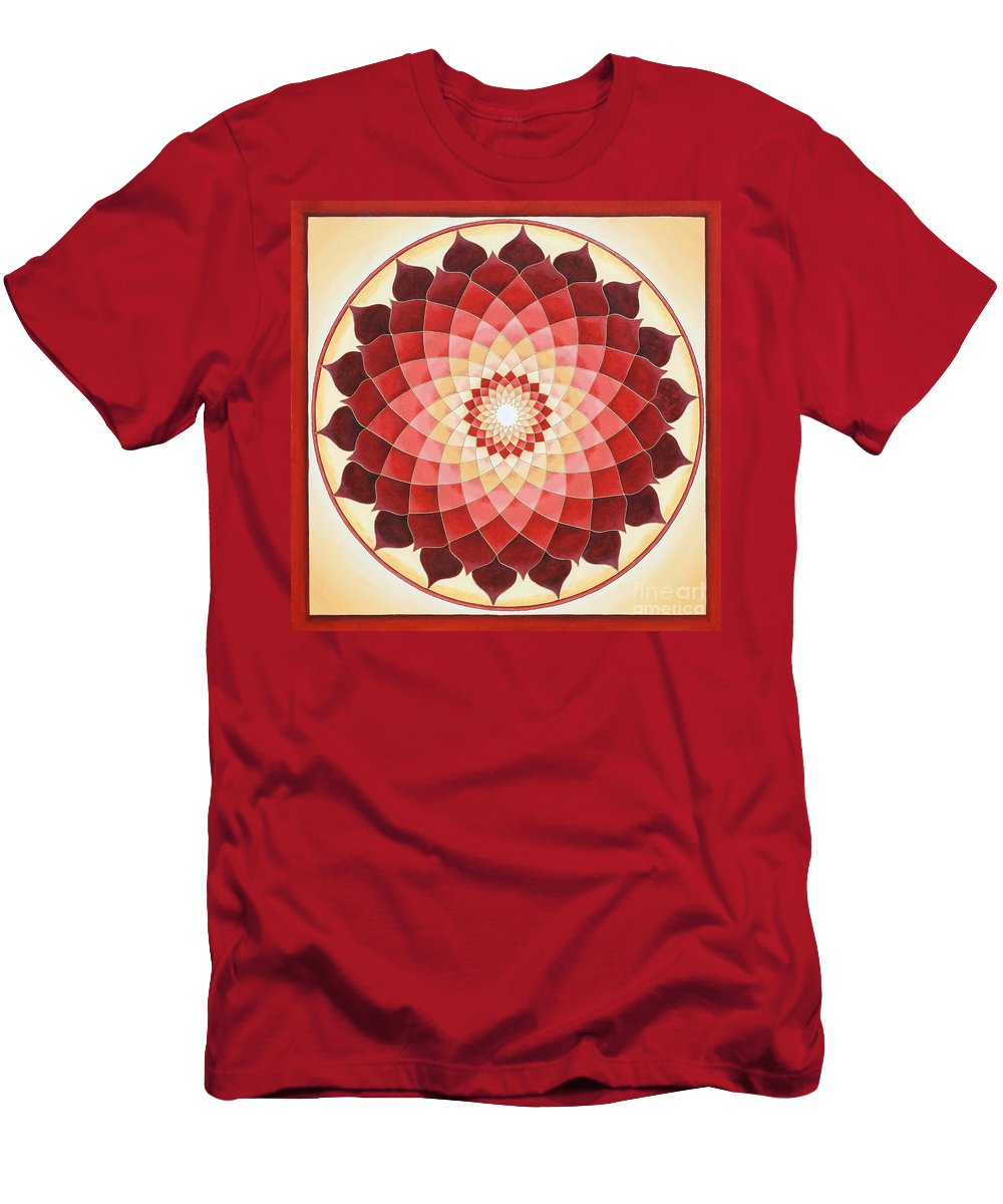 Mandala Men's T-Shirt (Athletic Fit) featuring the painting Flower Of Life by Charlotte Backman